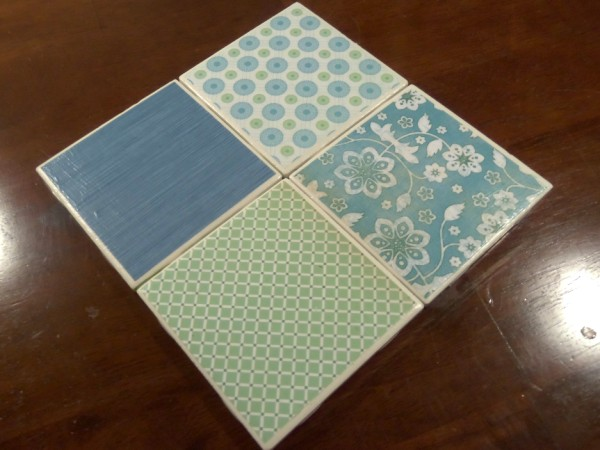 finishedcoasters2 (600 x 450) DIY Tile Coasters Tutorial